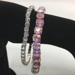 White and Pink Iridescent Rhinestone Bracelets